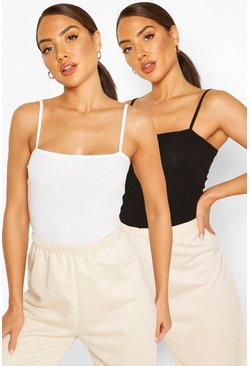 Blackwhite black Spagetti Strap Ribbed Body Two Pack
