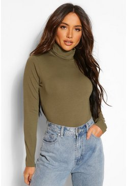Khaki Long Sleeve Polo Neck Body Top