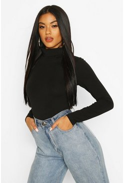Black Long Sleeved Roll Neck Top
