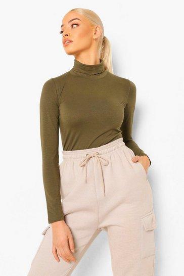 Khaki Green Long Sleeved Roll Neck Top