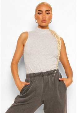 Grey High Neck Sleeveless Top