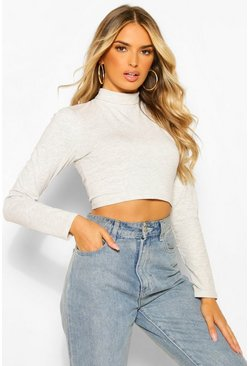 Grey High Neck Long Sleeve Crop