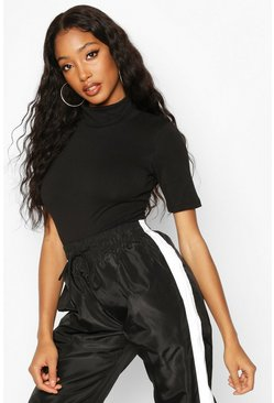Black Short Sleeved Turtleneck Top
