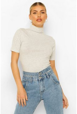 Grey Short Sleeved Roll Neck Top