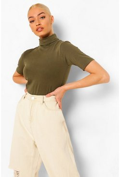 Khaki Short Sleeved Roll Neck Top
