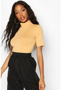 Nude Short Sleeved Turtleneck Top
