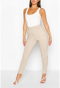 Oatmeal beige Stretch Tapered Pants