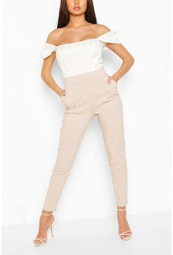 Stone beige Stretch Tapered Trouser