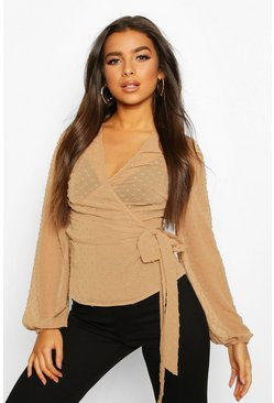 Nude Wrap Over Dobby Mesh Blouse
