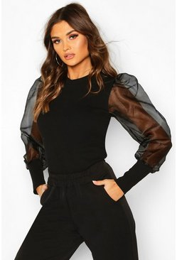 Black Mesh Organza Puff Sleeve Top
