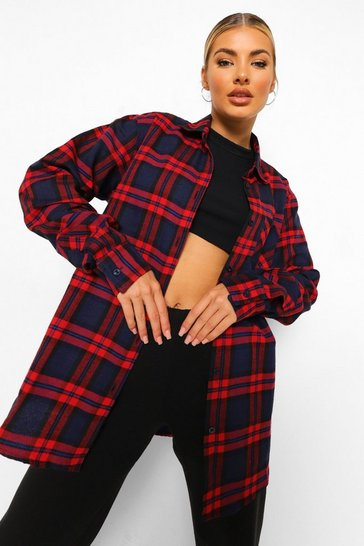 Navy Oversized Boyfriend Check Shirt