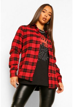 Red Oversized Boyfriend Check Shirt