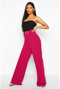 Magenta pink O Ring Wide Leg Tailored Trousers