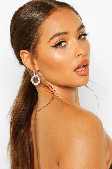 Silver Diamante Ring Detail Drop Earring