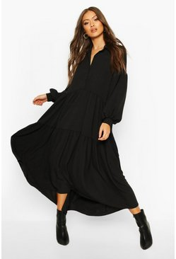 Black Oversized Tiered Maxi Shirt Dress