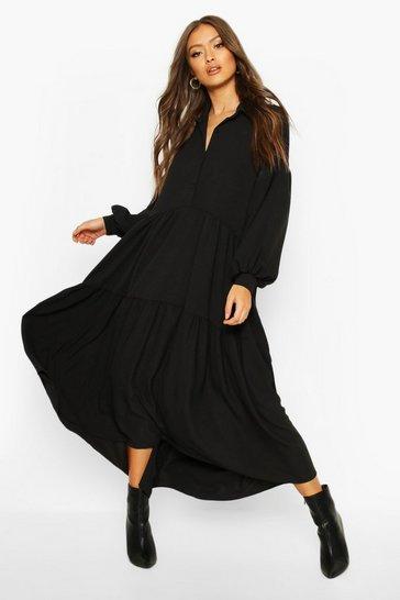 Black Oversized Tiered Maxi Shirt Dress