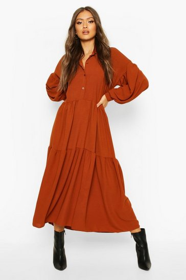 Rust orange Oversized Tiered Maxi Shirt Dress
