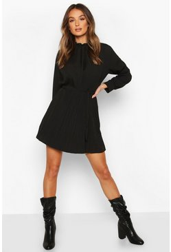 Black Pleated High Neck Tie Waist Shift Dress
