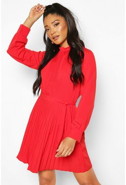 Red Pleated High Neck Tie Waist Shift Dress