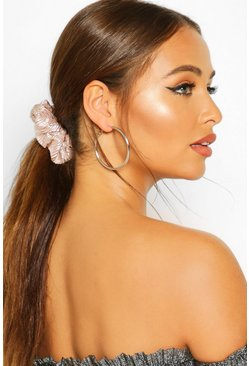 Silver 2 Pack Metallic Scrunchie