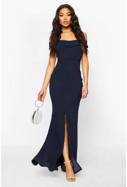 Navy Bardot Split Front Maxi Dress