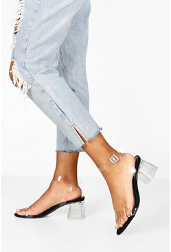 Black Low Clear Block Heel 2 Parts