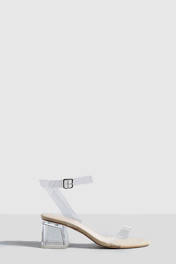Chaussures à petits talons carrés en 2 parties à brides