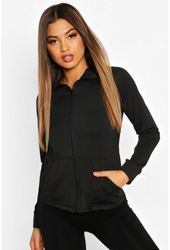 Black Fit Long Sleeve Zip Up Hooded Gym Jacket