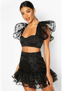 Black Ruffle Hem Polka Dot Mesh Mini Skirt