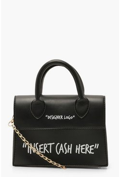 Black Insert Cash Here Slogan Structured Cross Body Bag