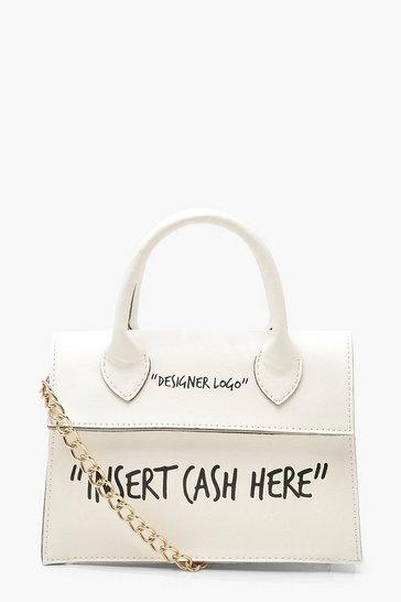 White Insert Cash Here Slogan Structured Cross Body Bag