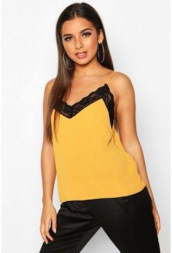 Mustard yellow Lace Trim Cami