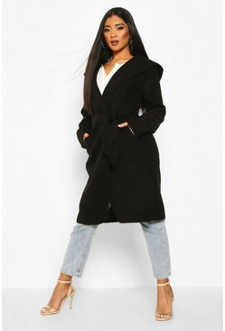 Black Hooded Belted Shawl Coat