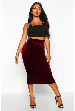 Berry red Velvet Midaxi Skirt