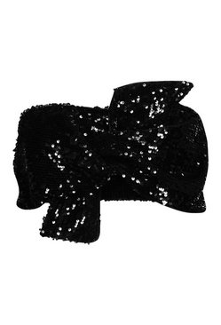 Black Sequin Bow Bandeau Crop