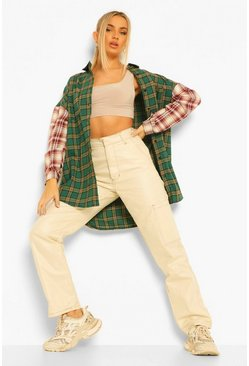 Green Mixed Check Contrast Sleeve Oversized Shirt