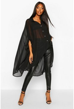 Black Woven Oversized Maxi Shirt