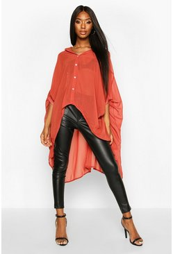 Terracotta orange Woven Oversized Maxi Shirt
