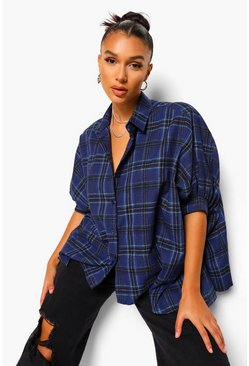Marineblauw navy Geruit oversized shirt