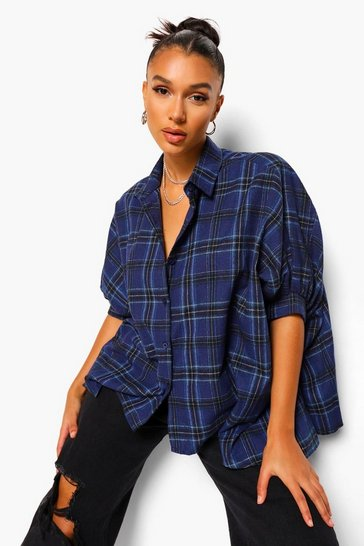 Navy Check Oversized Shirt