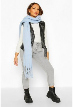 Light blue Chunky Oversized Fringe Scarf