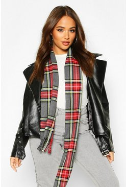 Grey Plaid Check Fringe Hem Scarf
