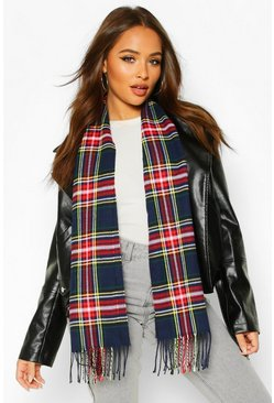 Navy Plaid Check Fringe Hem Scarf