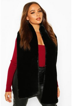 Black Faux Fur Oversized Scarf