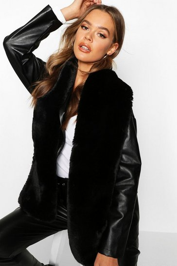Black Faux Fur Long Scarf