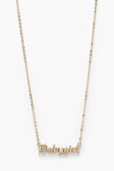 Gold metallic Baby Girl Slogan Necklace