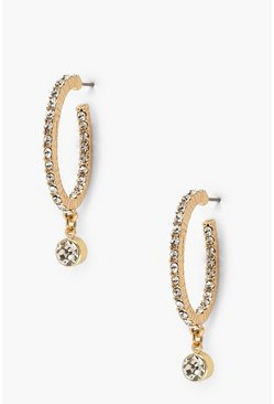 Gold metallic Diamante Pendant Hoop Earrings