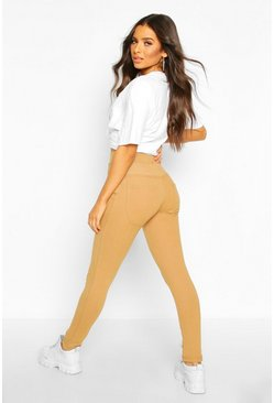 Camel beige Bum Lifting Pocket Basic Jeggings