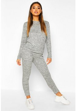 Charcoal grey Slouchy Top And Skinny Jogger Co-ord Set