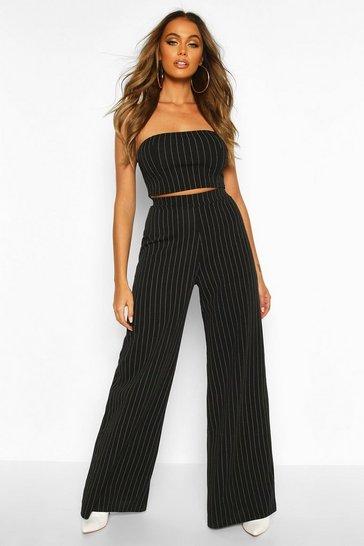 Black Bandeau Pinstripe Trouser Co-ord Set